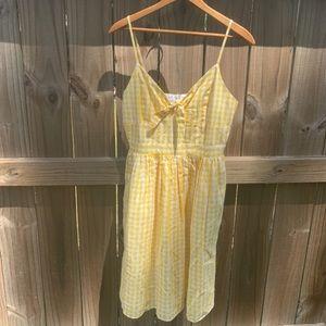 Revolve Endless Rose Gingham Yellow Slip Dress S